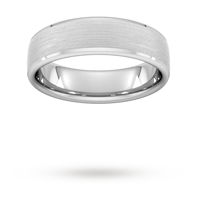6mm D Shape Heavy polished chamfered edges with matt centre Wedding Ring in 9 Carat White Gold