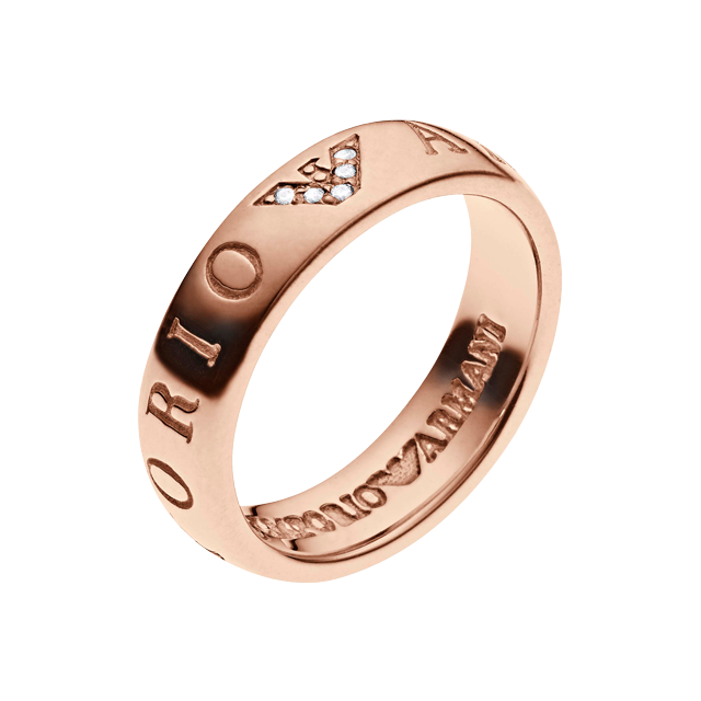Emporio Armani Brand Slim Rose Gold Plated Ring  Ring Size P